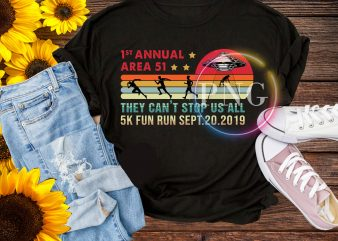 Area 51 5K Fun Run Shirt. Vintage Funny UFO, Alien T-Shirt