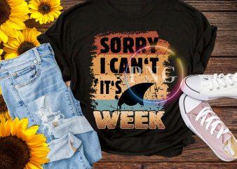 Sorry I can't wait It's Week Shark Vintage T shirt retro summer