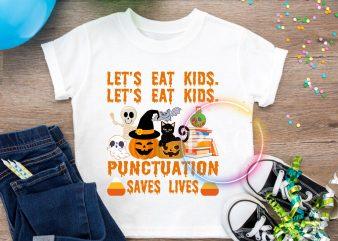 Let's eat kids Punctuation saves lives Pumpkin kids T shirt