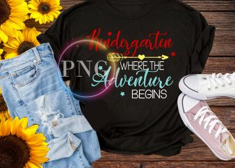 Kindergarten where the adventure begin T shirt back to school design 2019