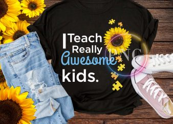 Teacher sunflower back to school t shirt – I teach really awesome kids sunflower autism
