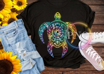 Hippie Tie Dye Shirt, Psychedelic Sea Turtle Tribal Tee graphic t shirt