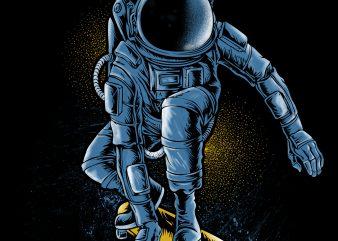 astronaut skate T shirt Design