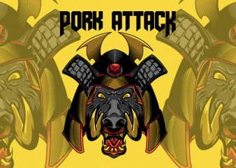 Pork Attack t shirt illustration