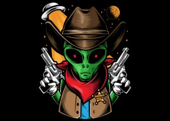 Alien Sheriff t shirt vector