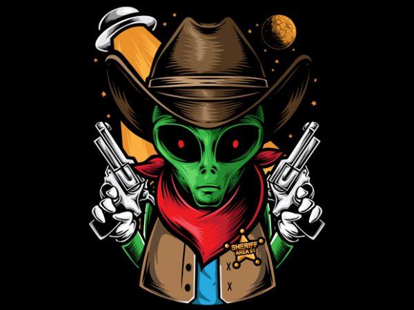Alien Sheriff t shirt vector