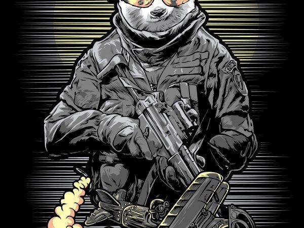 panda soldier t-shirt design