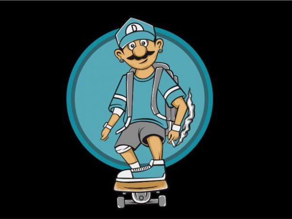 Skate and Smoke t shirt template vector