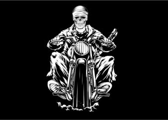 Skull Riding Motorcycle t shirt template vector