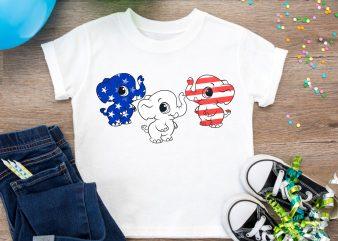 Elephant Merica America Flag T shirt – Design PNG Elephant Red White Blue Color USA