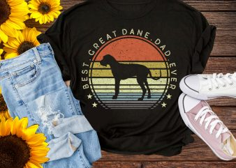 Best Great Dane Dad Ever Vintage T shirt Design PNG – Dane Dog Dad Lover t shirt template