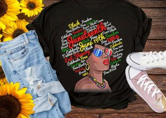 June Teenth Black Girl T shirt Design PNG