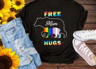 Free Mom Hugs Mama Bear LGBT Pride Rainbow T shirt Design PNG