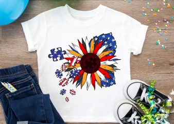 America Flower Flag Autism Awareness Support T shirt Design PNG t shirt template