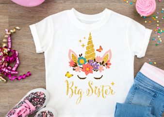 Big Sister Unicorn Lover T shirt Design PNG for Sister Day