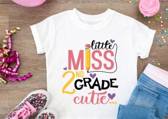 Little Miss 2nd Grade Cutie Girls T shirt – Kindergatern Back To School Design