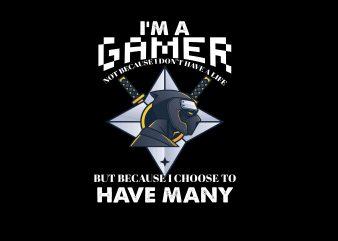 I'm A Gamer t shirt design for sale