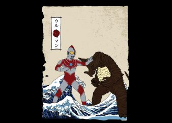 the great kaiju fight of kanagawa t shirt designs for sale
