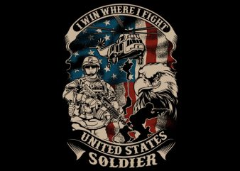 US soldier t shirt vector graphic