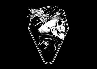 Skull Captan Army t shirt template vector