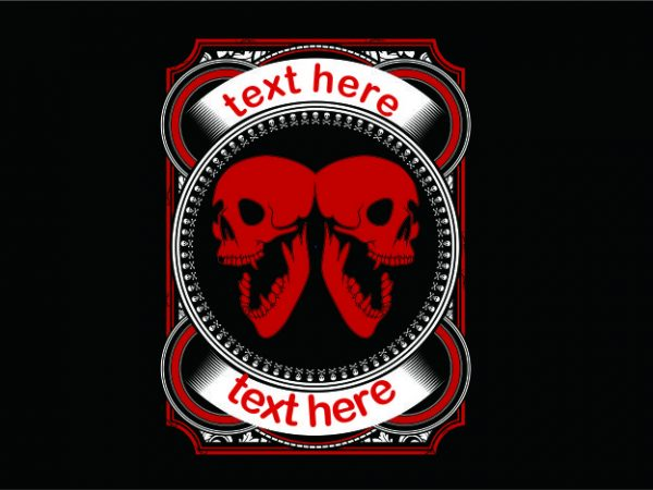 Double Skull in Red t shirt vector illustration
