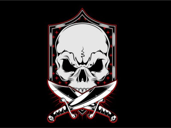 Skull with Frame t shirt template vector