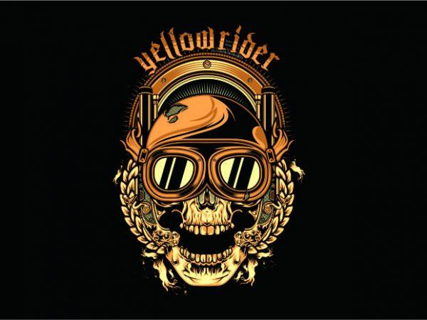 Yellow Rider t shirt design template