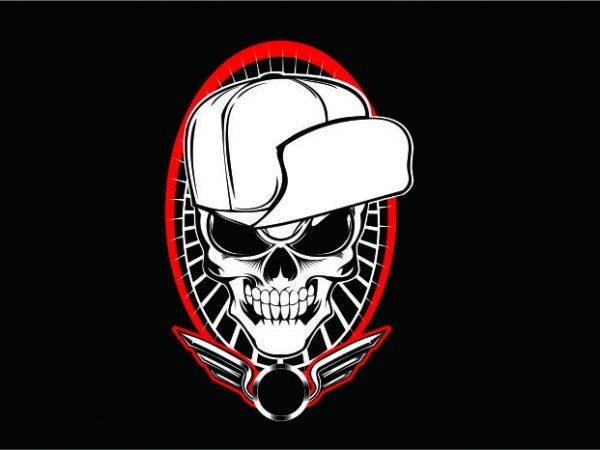 Skull wit Hat Hardcore t shirt template vector