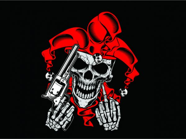 Joker Skull with Gun vector clipart