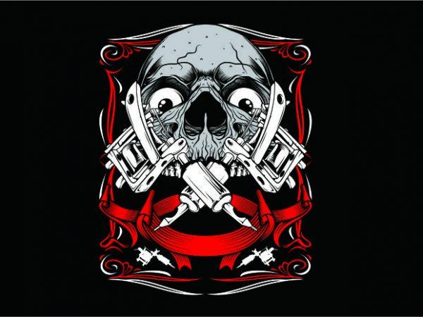 Skull Art Tattoo t shirt template vector