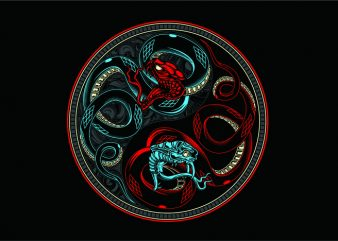 Snake Yin & Yang t shirt template vector