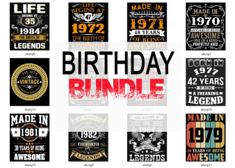 Special birthday age bundle psd file – 80% OFF – editable 23 files, font and mockup t shirt template vector