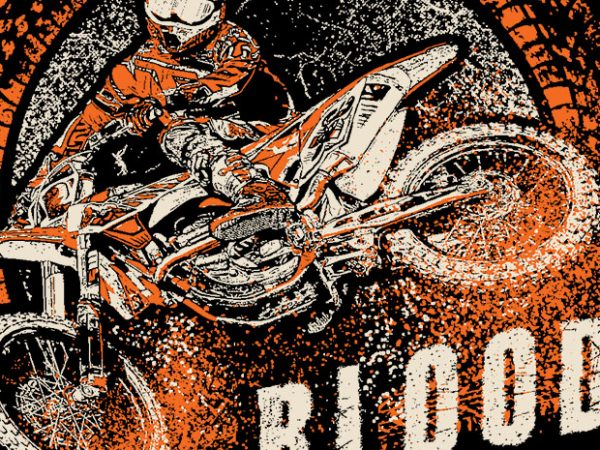 Dirtbike Blood t shirt vector illustration