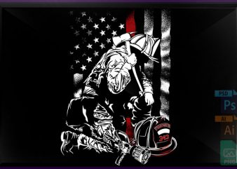 Firefighter Red Line t shirt graphic design