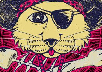 Pirate Cat t shirt illustration