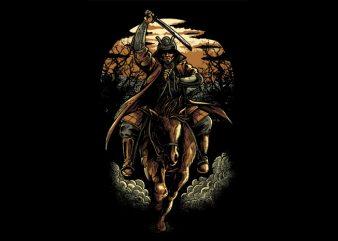 Samurai Colored Version t shirt template vector