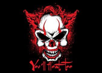 Skull Clown t shirt template vector