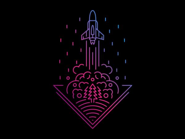 Smoky Rocket t shirt template vector