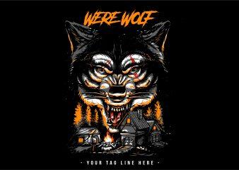 Were Wolf Vector T-shirt Design