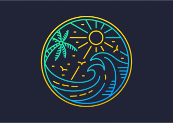 Waves in Summer t shirt design for sale