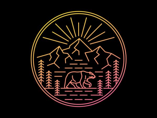 Wilderness Bear t shirt design for sale