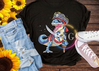 Dinosaur T rex Pirate – Jolly Roger Halloween Skull T shirt design