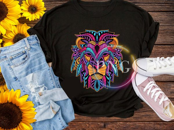 Colorful Lion Head – August Leo King Psychedeli T shirt Birthday