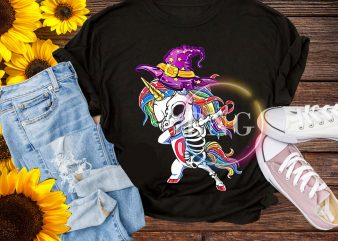 Dabbing Unicorn Witch Skeleton-Unicorn Halloween Costume Design