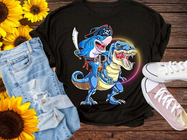 Pirate Shark Dinosaur T rex – Cowboy Shark Jawsome Boys Design