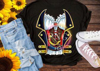 Pirate Buccaneer Costume Funny Pirates Halloween t shirt illustration