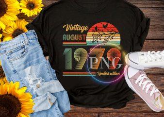 Vintage August 1979 – Autumn Birthday Retro style t shirt vector art