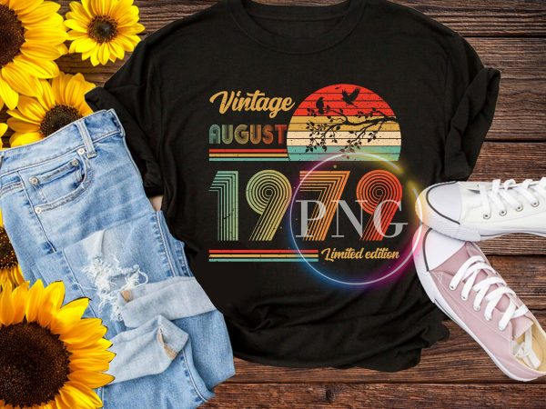 Vintage August 1979 – Autumn Birthday Retro style t shirt vector art