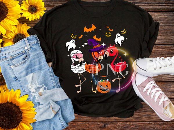Flamingo Halloween Cosplay Costume Pumpkin witch T shirt
