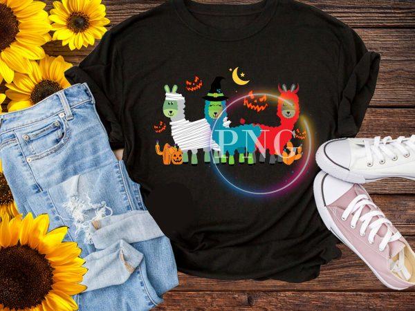 Llama Halloween Cosplay Costume Witch Pumpkin Devil Darkness t shirt vector graphic
